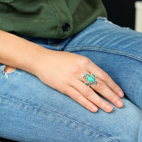Turquoise and silver Cross Ring