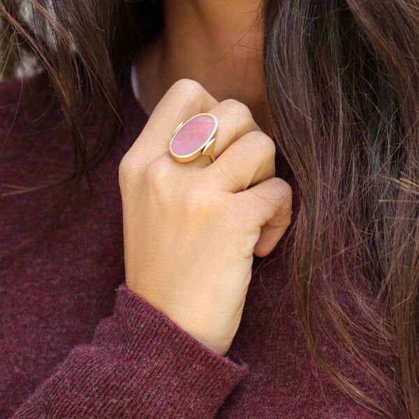 Cat eye and pink Opal Flip ring