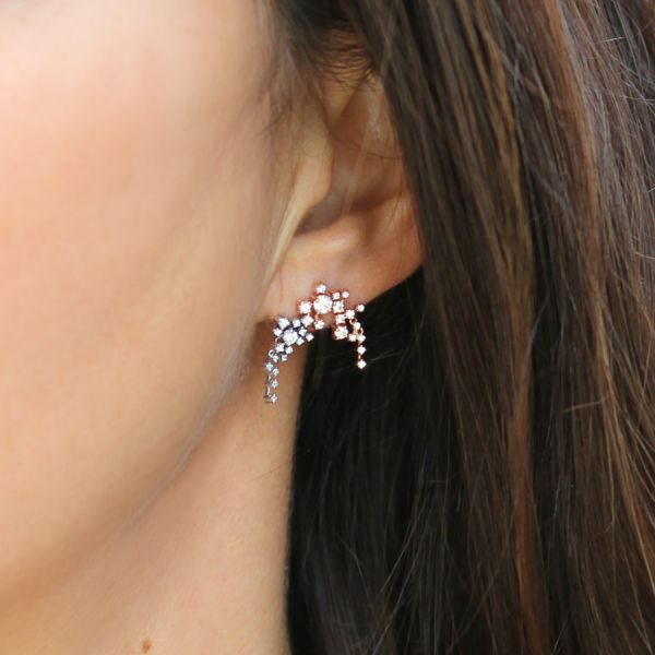 Boucle d'oreille big cascade diamants en or