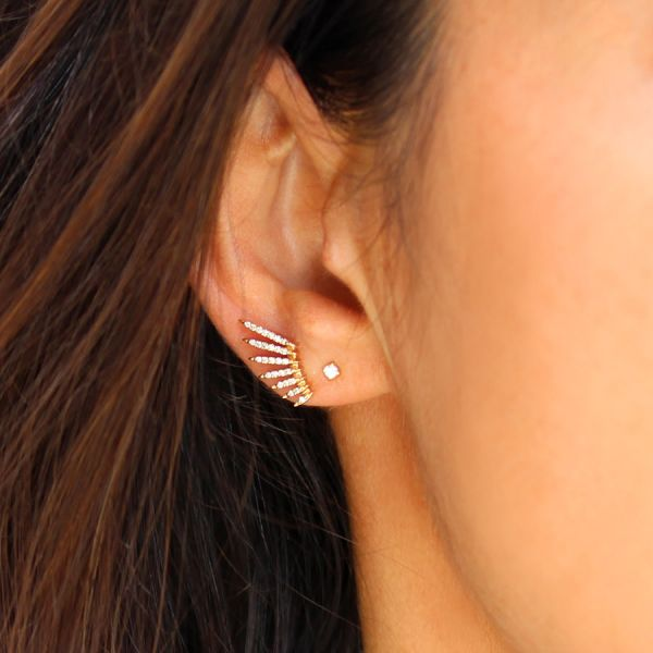 Flying wing and diamond earring