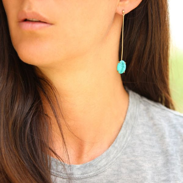 Turquoise shell earring