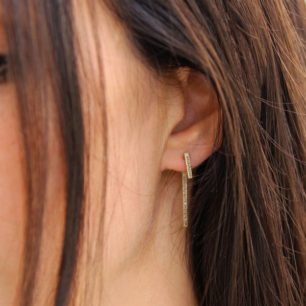 Double diamond bar earring