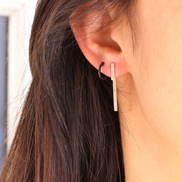 Silver double diamond bar earring