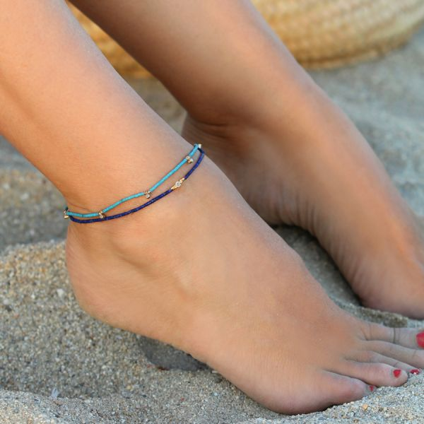 Coral and diamond ankle bracelet
