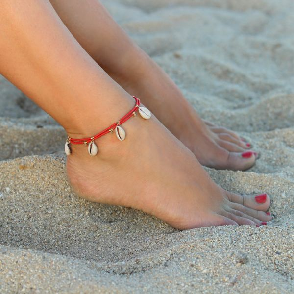 Coral and shells ankle bracelet