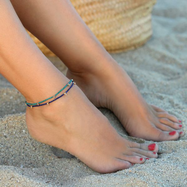 Turquoise and diamonds ankle bracelet