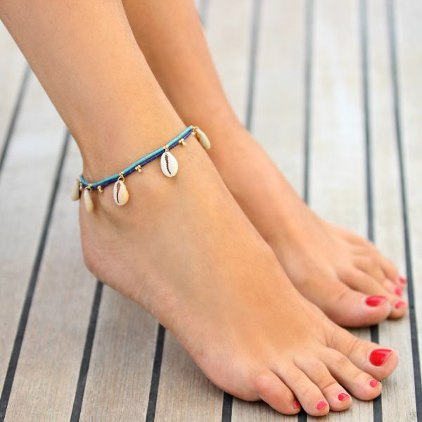 turquoise and shells ankle bracelet