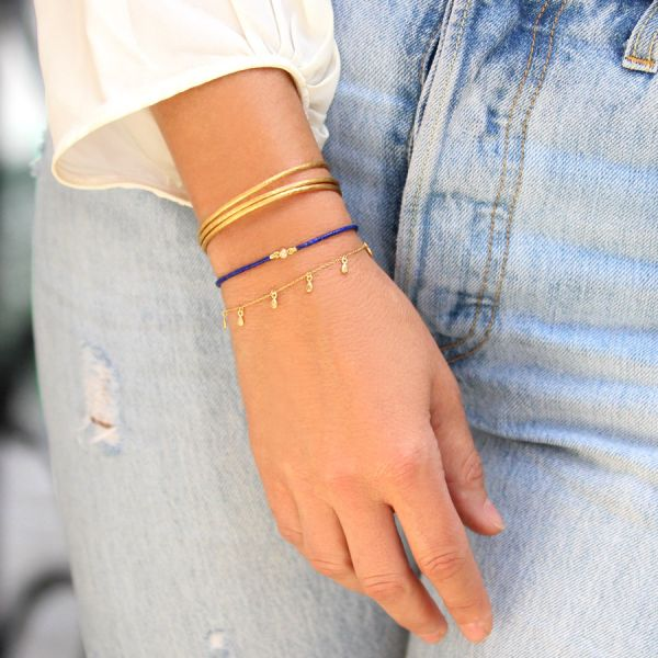 Diamond lapis bracelet