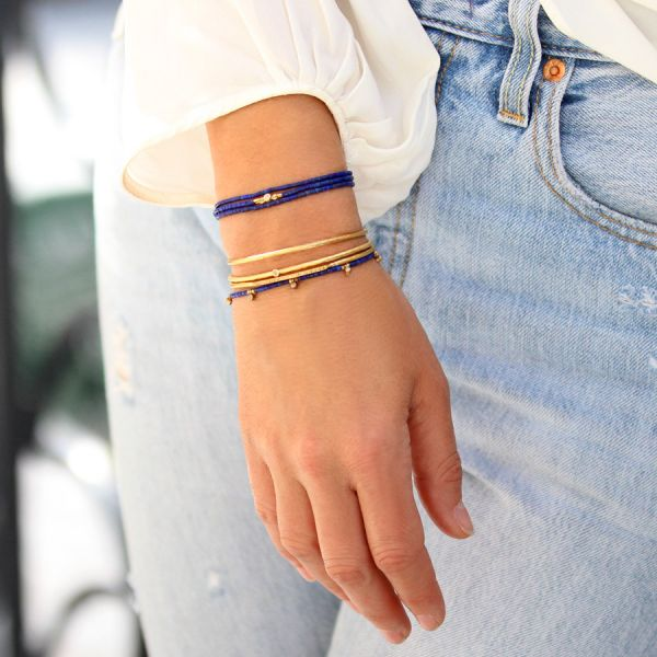 Diamond triple lapis bracelet