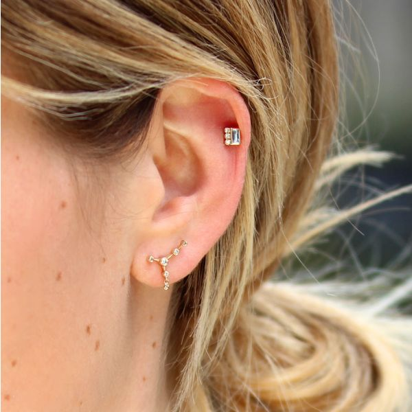 Puce d'oreille constellation 6 diamants