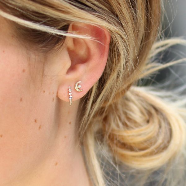 Diamonds moon earring