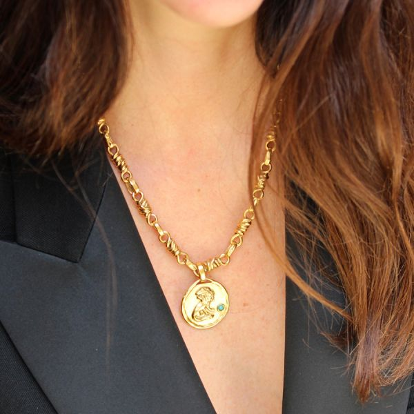 Talisman lion medal necklace