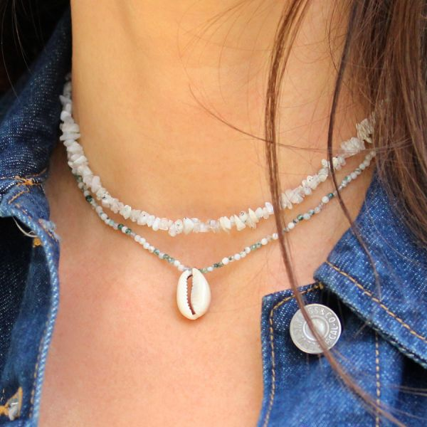 Collier agate et coquillage