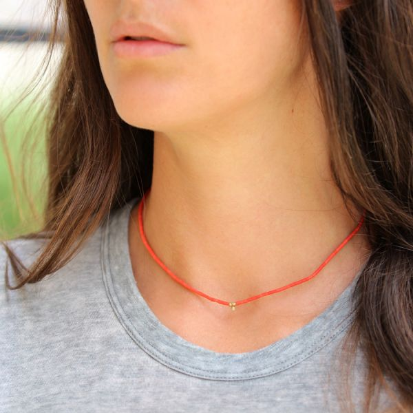 Collier corail et diamant