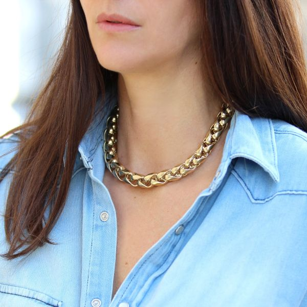 Curb chain neckalce gold