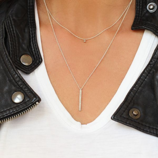 Silver Double Bar Necklace