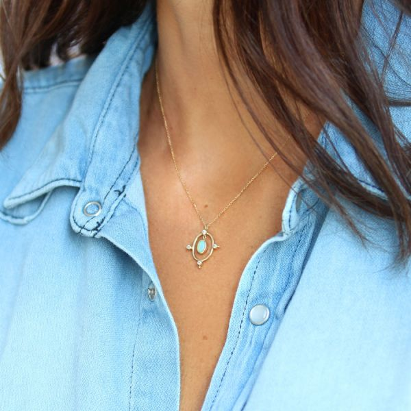 Gold and opal Rose des vents necklace