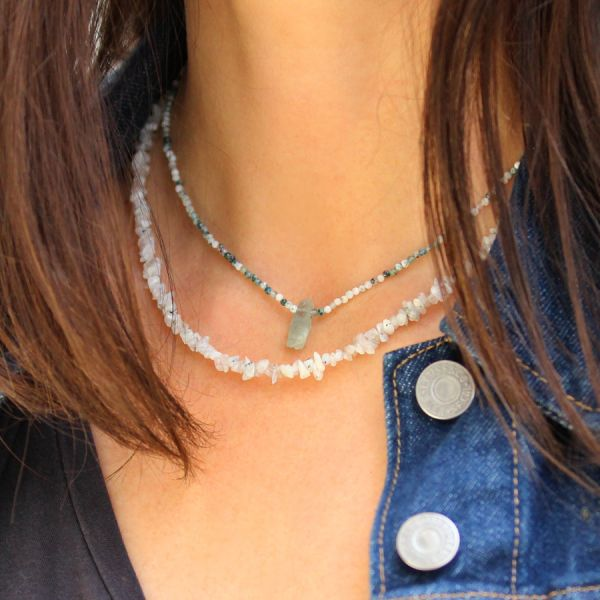 Collier agate et aigue marine