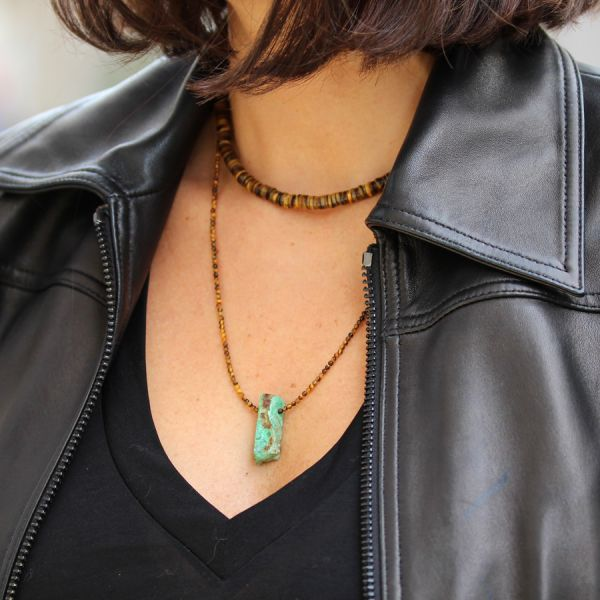 Tiger eyes and Chrysoprase necklace