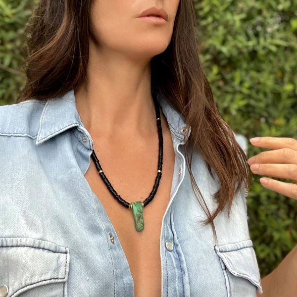 Black Agate and Chrysoprase necklace