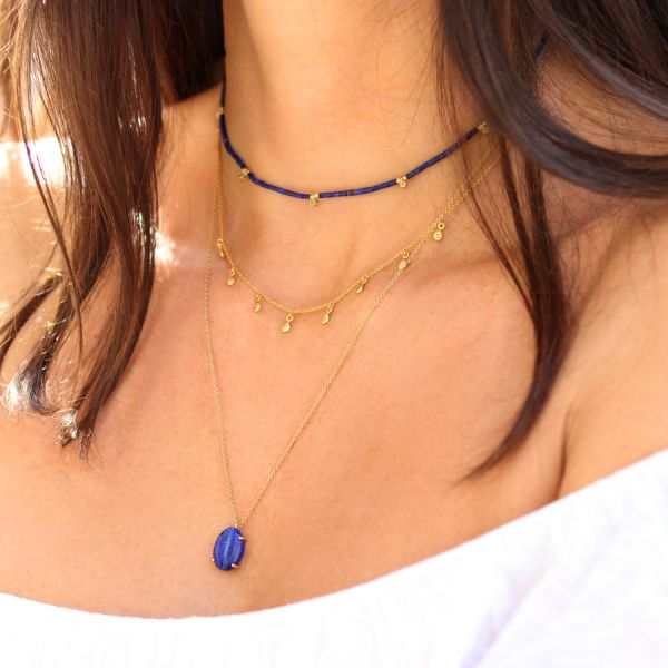Lapis lazuli and diamonds necklace