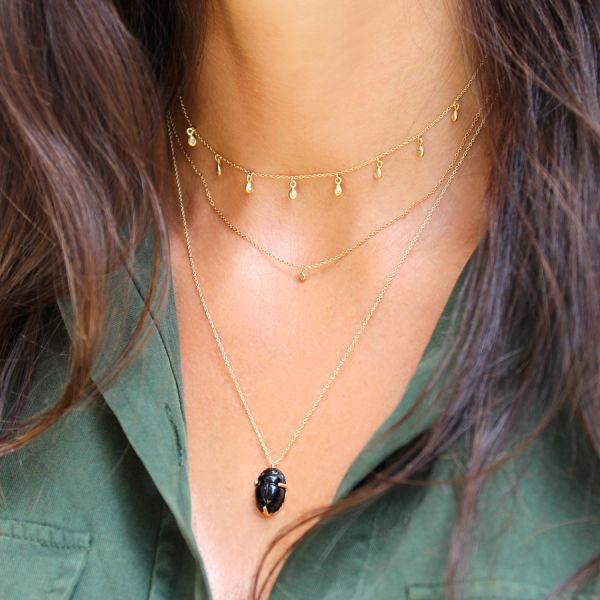 Onyx scarab necklace