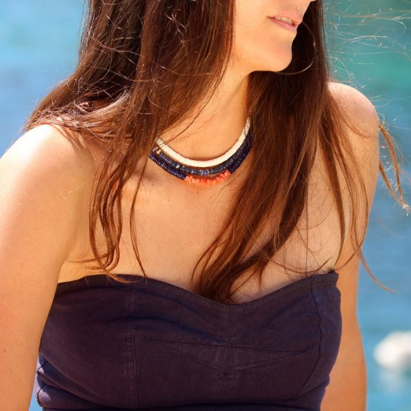 Sodalite and Coral necklace