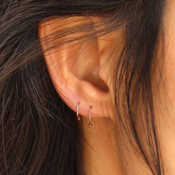 Mini pink gold hoop earring