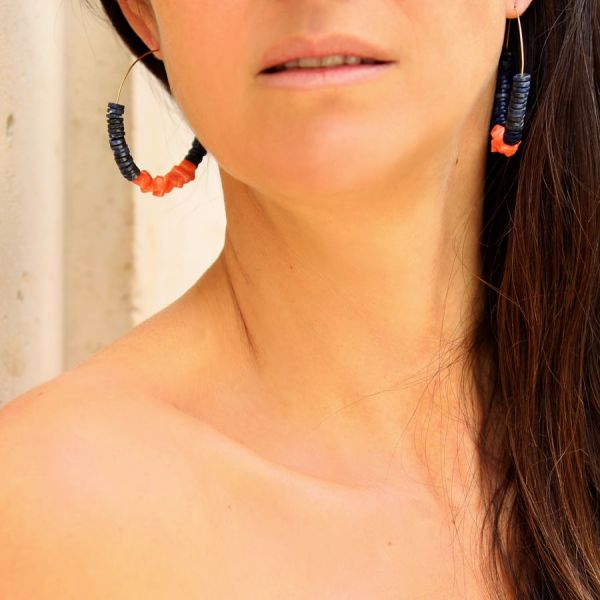 Sodalite and coral hoops