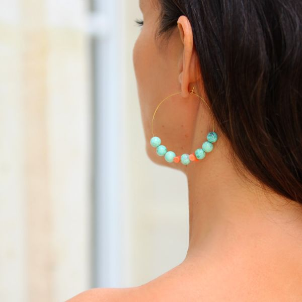 Turquoise and coral hoops
