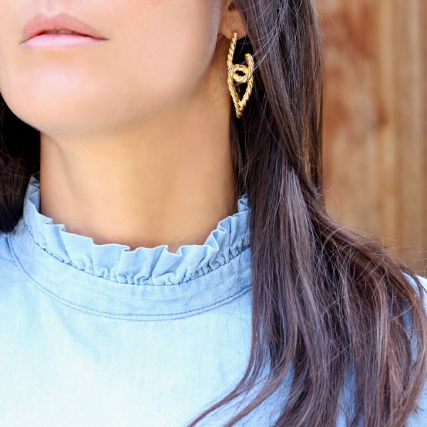Gold plated twist Hoop