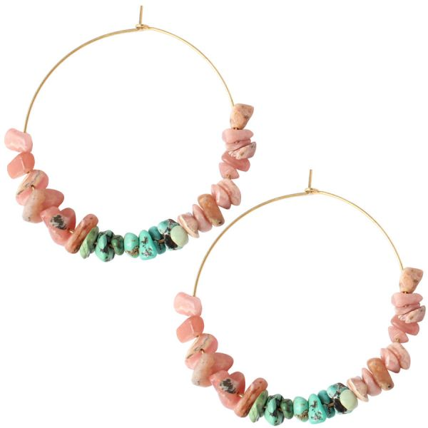 Rhodocrosite and Turquoises hoops