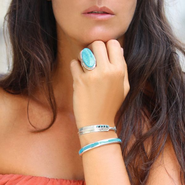 Feather Turquoise Silver Bracelet