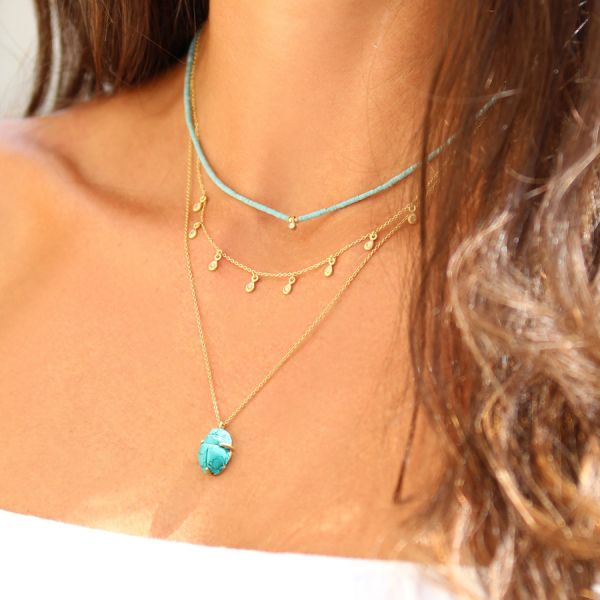 Turquoise and diamond necklace (Elsa Madjar)