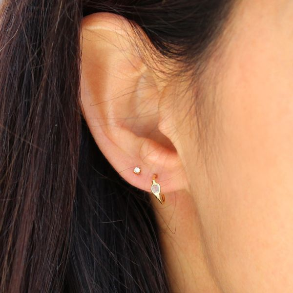 Diamond mini hoop earring